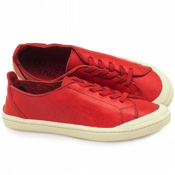 Tênis Cano Baixo em couro vermelho - Código - 141051