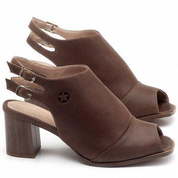 Sandália Salto Médio de 6cm em couro Marrom Telha - Código - 3690