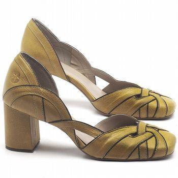 Scarpin Salto Médio de 6cm em couro Amarelo Citrus - Código - 3599