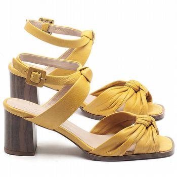 Sandália Salto Médio de 6cm em couro Amarelo - Código - 3693