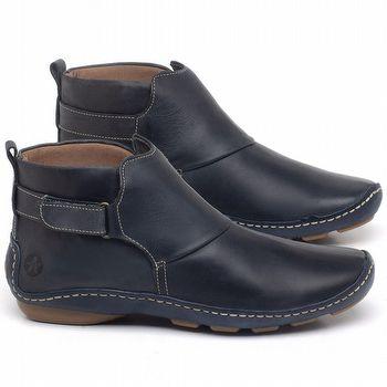 Flat Boot em couro Azul Marinho - Código - 136031