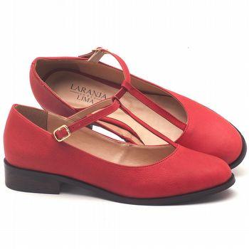 Oxford Flat boneca em couro vermelho - Código - 9434