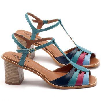 Sandália Salto médio de 6cm em couro marinho, celeste e pink - Código - 3552