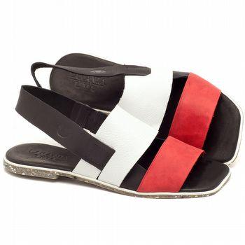 Rasteira Flat em couro vermelho, branco e branco. - Código 145014