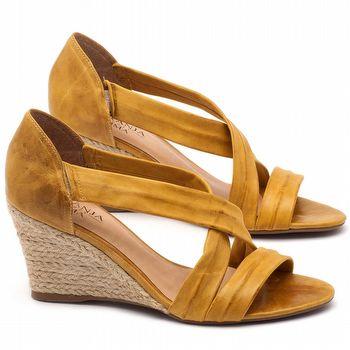 Anabela Corda com salto de 8cm em couro amarelo - Código - 9422