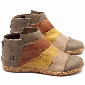 Flat Boot em couro Cinza, Amarelo e Ferrugem - Código - 137145