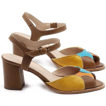 Sandália Salto Médio de 6cm em couro Amarelo, Azul e Laranja - Código - 3668
