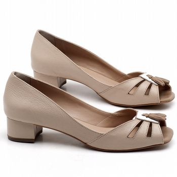 Peep Toe Salto Baixo de 4cm em couro Rose - Código - 3637