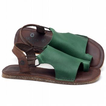 Rasteira Flat em couro Verde Folha - Código - 141097