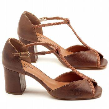 Sandália Salto de 6cm em couro Marrom Telha - Código - 3596
