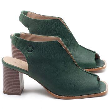 Sandália Salto Médio de 6cm em couro Verde Bandeira - Código - 3632
