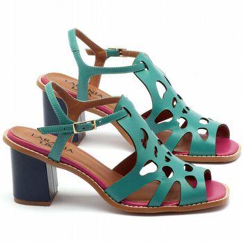Sandália Salto Médio de 6cm em couro azul Marinho, turquesan pink - Código - 3508