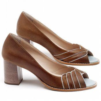 Peep Toe Salto Medio de 6cm em couro Marrom Conhaque - Código - 3621