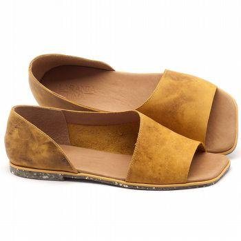 Rasteira Flat em couro amarelo - Código - 145013