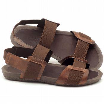 Rasteira Flat em couro marrom - Código - 56138