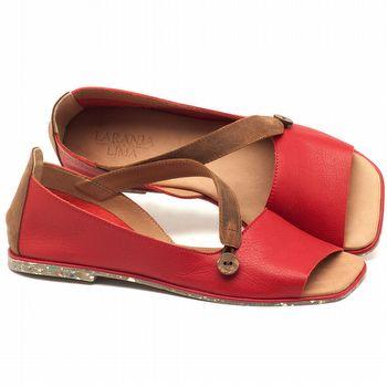 Rasteira Flat em couro vermelho tomate - Código - 145028