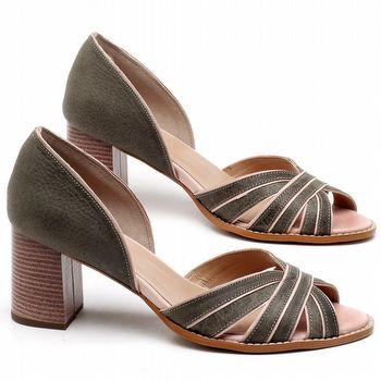Sandália Salto de 7cm em couro Musgo - Código - 3625