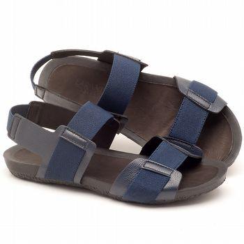 Rasteira Flat em couro azul marinho - Código - 56138