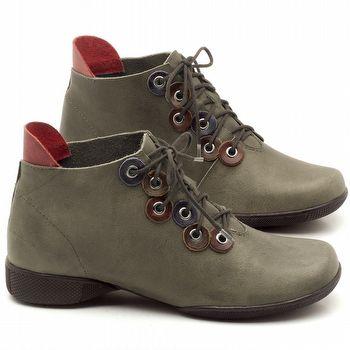 Flat Boot em couro Musgo com Vermelho - Código - 141063
