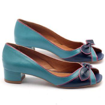 Peep Toe Salto Baixo de 4cm em couro azul - Código - 3473