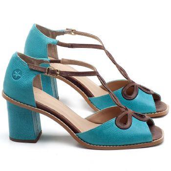 Sandália Salto em couro Azul Piscina - Código - 3598