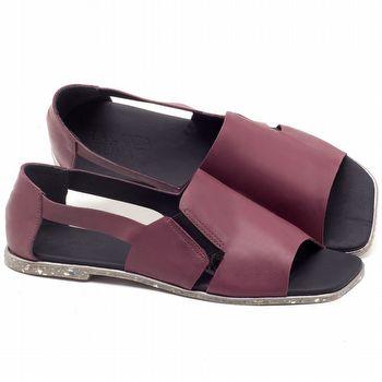 Rasteira Flat em couro roxo ameixa - Código - 145012