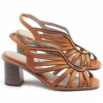 Sandália Salto Médio de 6cm em couro Laranja - Código - 3647