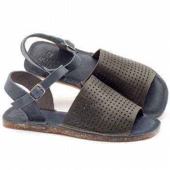 Rasteira Flat em couro azul com chumbo - Código - 141048