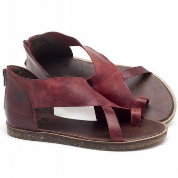 Rasteira Flat em couro vermelho - CÓDIGO - 141103