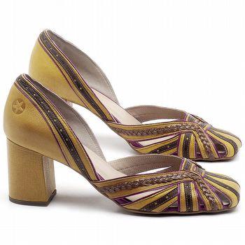 Scarpin Salto Médio de 6cm em couro Amarelo, Marrom Telha e Açaí - Código - 3543