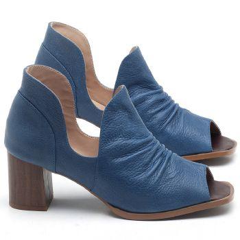 Sandália Salto em couro Azul - CÓDIGO - 3705