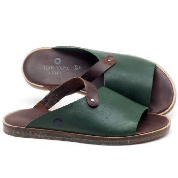 Rasteira Flat em couro verde com marrom - Código 141056