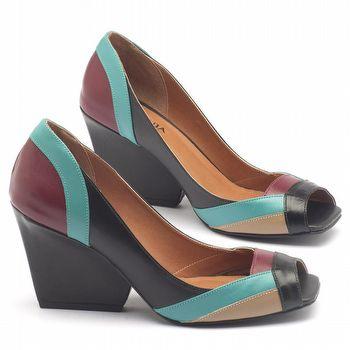 Peep Toe Salto Medio de 6c em couro colorido 3497