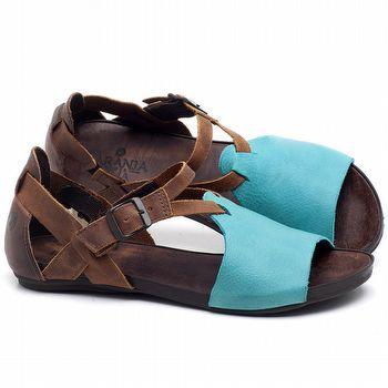 Rasteira Flat em couro Azul Piscina - Código - 137187