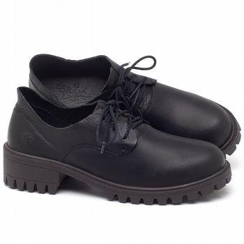 Sapato Fechado Estilo Boho-Chic Em couro Preto - Código - 137263