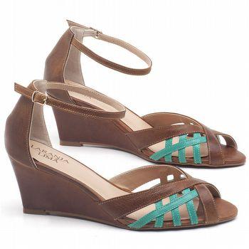 Sandália Salto Médio de 6cm em couro Marrom Conhaque com Hortelã - Código - 3643