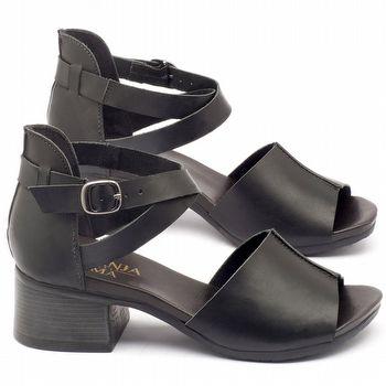 Sandália Boho em couro preto com salto de 5cm - Código - 137117