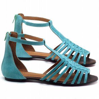Rasteira Flat em couro Azul Piscina - Código - 56145