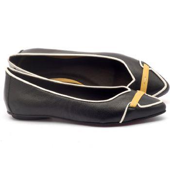 Sapatilha Bico Fechado em couro preto, off e amarelo - Código - 56144
