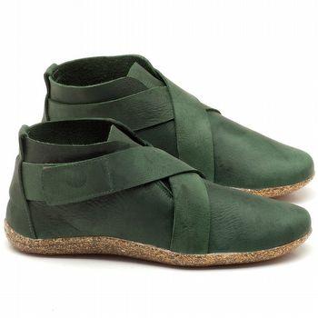 Flat Boot em couro verde militar - Código - 145032