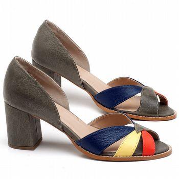 Sandália Salto em couro Musgo, Laranja, Amarelo e Azul - Código - 3627