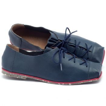 Sapato Fechado Estilo Boho-Chic em couro azul - Código - 145010