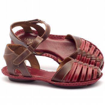 Rasteira Flat em couro vermelho com marrom - Código - 136027