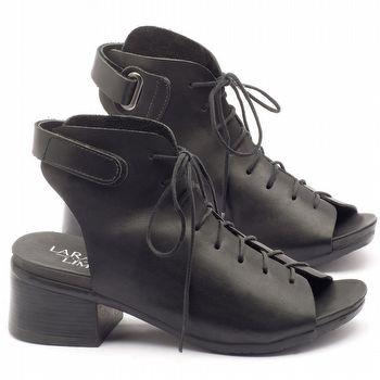 Sandália Boho em couro preto com salto de 5cm - Código - 137120