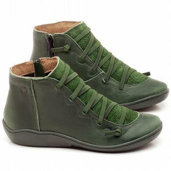 Tênis Cano Alto em couro Verde Militar - Código - 139028