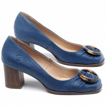 Scarpin Salto Médio de 6cm em couro Azul Bic - Código - 3675