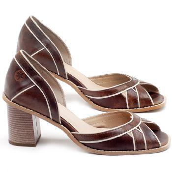 Sandália Salto Médio de 6cm em couro Marrom Tan - Código - 3489