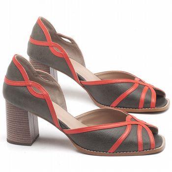 Sandália Salto Médio de 6cm em couro Musgo com Laranja - Código - 3635