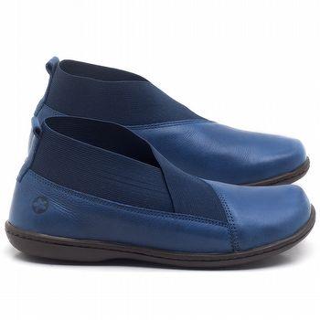 Flat Boot em couro Azul Bic - Código - 56086