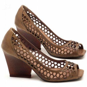 Peep Toe Salto Medio de 6cm em couro Marrom Conhaque - Código - 3498